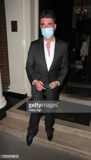Simon Cowell seen on a night out leaving The Arts Club on June 08, 2021 in London, England.