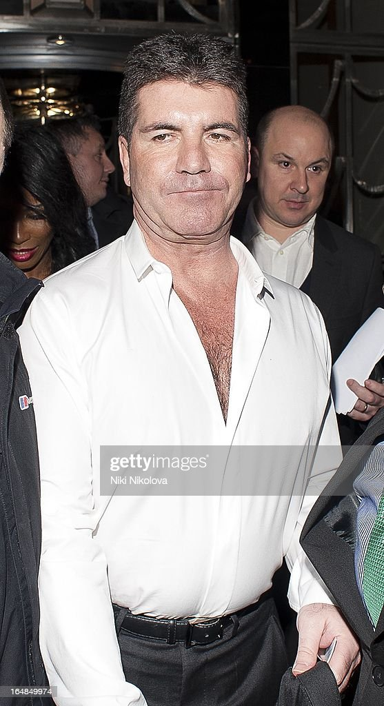 Simon Cowell sighting at Claredges hotel on March 28, 2013 in London, England.