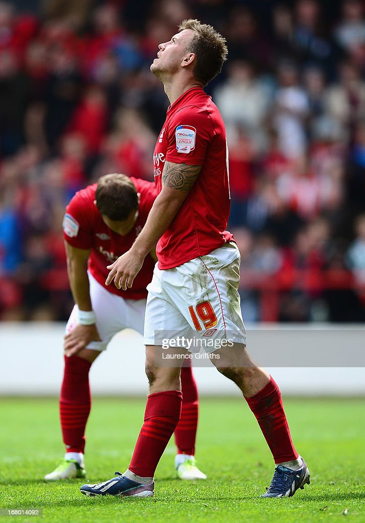 Simon Cox of Nottingham Forest shows his dissapointment in defeat during the npower Championship match between Nottingham Forest and Leicester City at City Ground on May 4, 2013 in Nottingham, England.