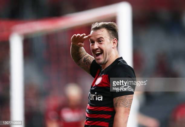Simon Cox of the Wanderers celebrates scoring a goal during the round 20 A-League match between the Western Sydney Wanderers and Adelaide United at...