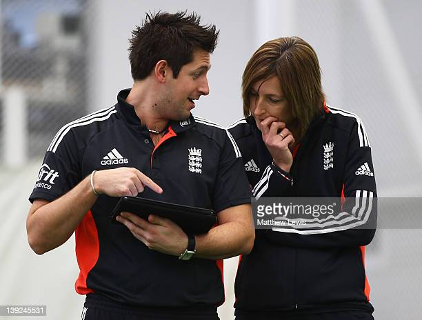 Simon Crampton Sports Psycologist and Lisa Keightley Head Coach of England look on during an England Womens Cricket Squad Training and Portraits...