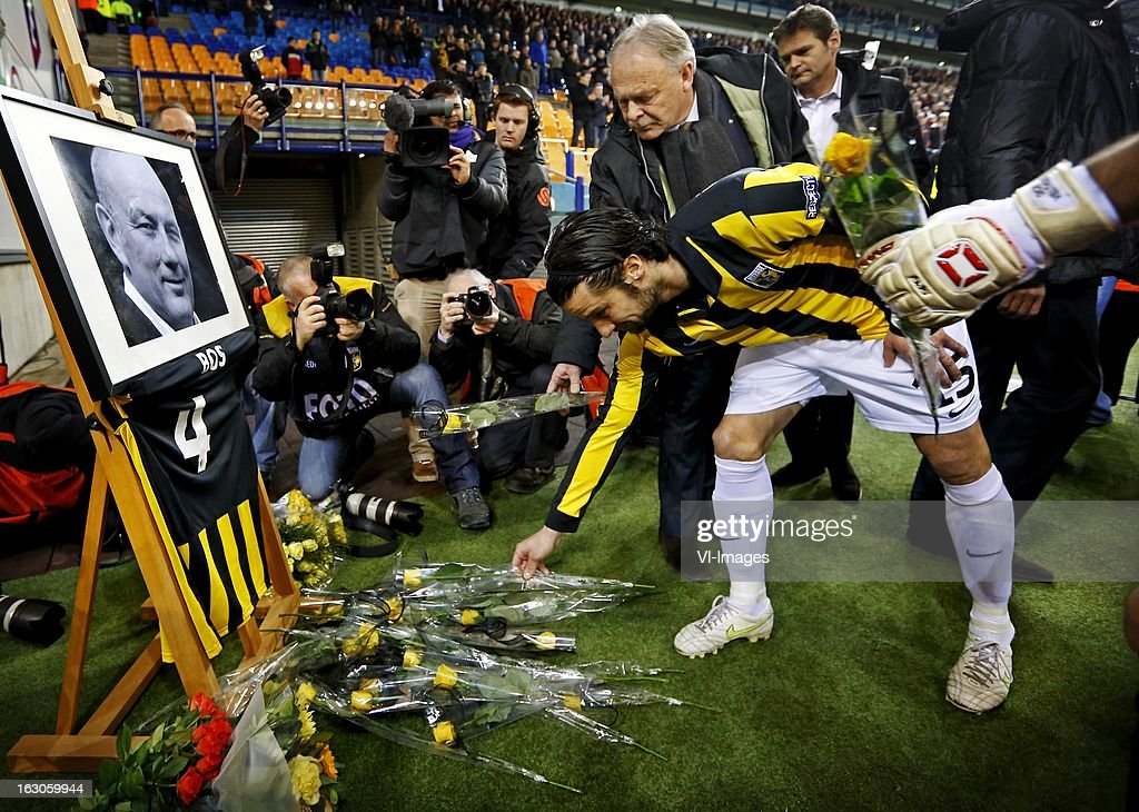 Simon Cziommer and Piet Velthuizen during the Dutch Eredivisie match between Vitesse Arnhem and FC Utrecht at the Gelredome on march 01, 2013 in Arnhem, The Netherlands