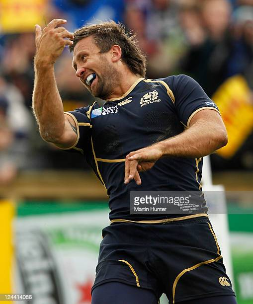 Simon Danielli of Scotland celebrates after scoring a try during the IRB 2011 Rugby World Cup Pool B match between Scotland and Romania at Rugby Park...