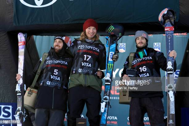Simon D'Artois of Canada third place David Wise of the United States first place and Noah Bowman of Canada second place stand on the podium after the...