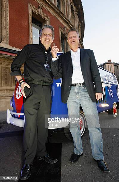 Simon Davies Chief Executive of Teenage Cancer Trust and Harald Schonburg of Volkswagen pose outside prior to the first night of a series of concerts...