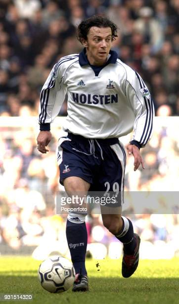 Simon Davies of Tottenham Hotspur in acion during the FA Carling Premiership match between Tottenham Hotspur and Aston Villa at White Hart Lane in...