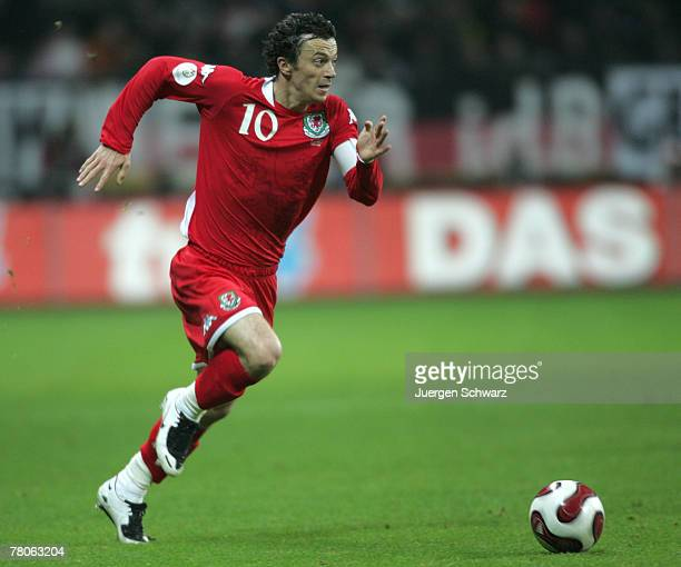 Simon Davies of Wales runs aside the ball during the UEFA Euro2008 Group D qualifying match between Germany and Wales at the Commerzbank Arena on...