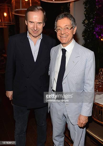 Simon de Pury and MOCA LA Director Jeffrey Deitch attend the Aby Rosen Samantha Boardman dinner at The Dutch on December 6 2012 in Miami Florida