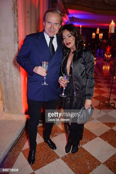 Simon de Pury and Nancy Dell'Olio attend a party to celebrate Nefer Suvio's birthday hosted by The Count and Countess Francesco Chiara Dona Dalle...