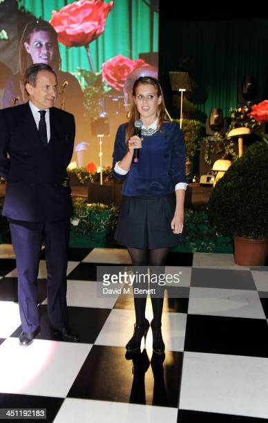 Simon de Pury and Princess Beatrice of York speak at the Adventure in Wonderland Ball held by The Reuben Foundation in aid of Great Ormond Street...