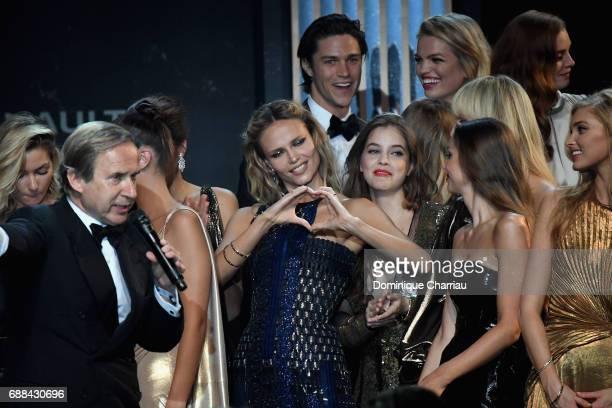 Simon de Pury Natasha Poly Barbara Palvin Lara Lieto and Elsa Hosk are seen on stage at the amfAR Gala Cannes 2017 at Hotel du CapEdenRoc on May 25...
