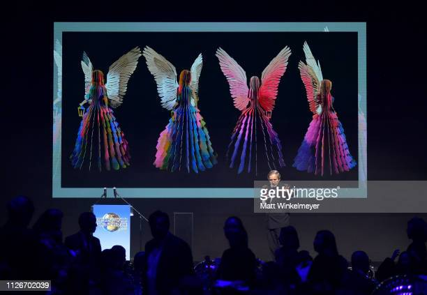 Simon de Pury speaks onstage at the UCLA IoES honors Barbra Streisand and Gisele Bundchen at the 2019 Hollywood for Science Gala on February 21 2019...