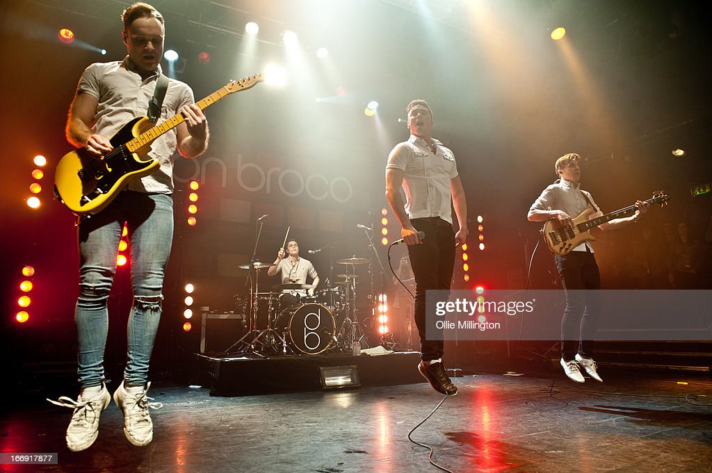 Simon Delaney, Matt Donnelly, Rob Damian and Tom Doyle of Don Broco perform onstage during a sold out show on the last night of the Prioroties 2013 album Tour at KOKO on April 18, 2013 in London, England.
