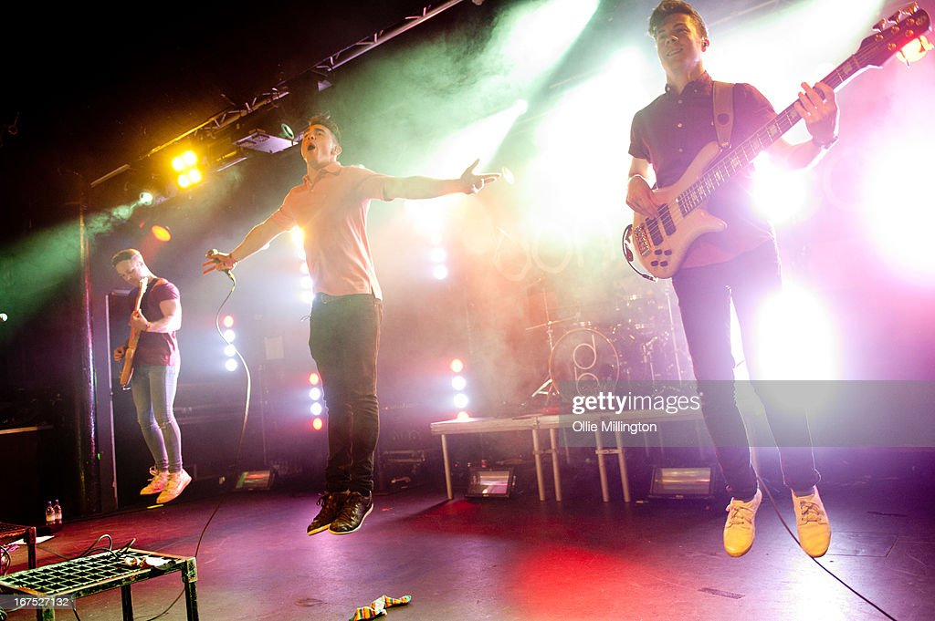 Simon Delaney, Rob Damian, Matt Donnelly and Tom Doyle of Don Broco perform on stage at Rock City headlining the Hit The Deck Festival 2013 at Rock City on April 21, 2013 in Nottingham, England.