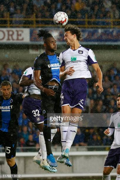 Simon Deli defender of Club Brugge and Philippe Sandler defender of Anderlecht pictured during the Jupiler Pro League match between Club Brugge and...