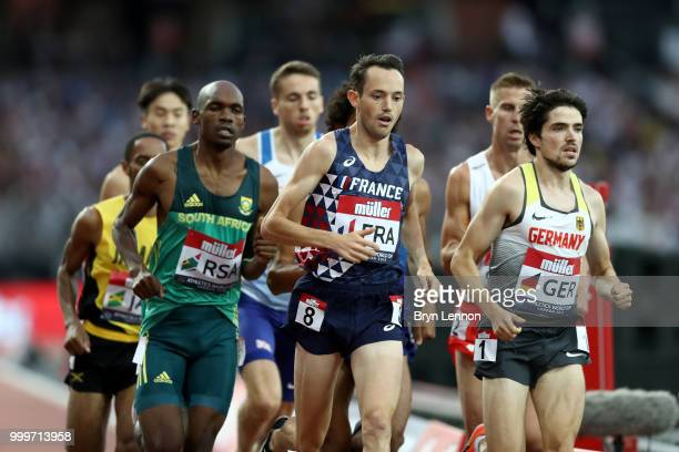 Simon Denissel of France leads the pack during the Men's 1500m during day two of the Athletics World Cup London at the London Stadium on July 15 2018...