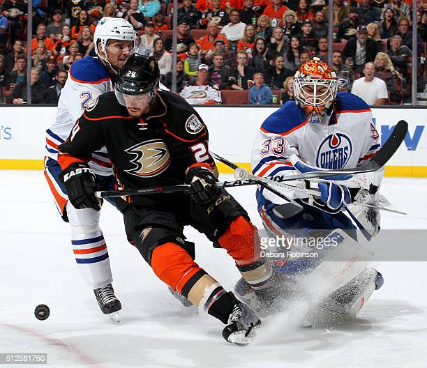 Simon Despres of the Anaheim Ducks battles for the puck against Andrej Sekera and Cam Talbot of the Edmonton Oilers on February 26 2016 at Honda...