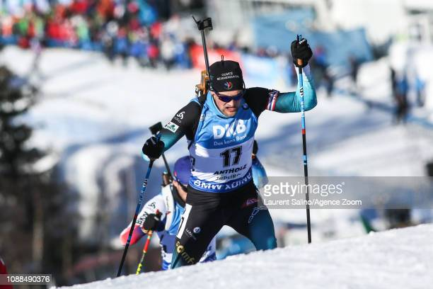 Simon Desthieux of France competes during the IBU Biathlon World Cup Men's Sprint on January 25 2019 in Antholz Anterselva Italy