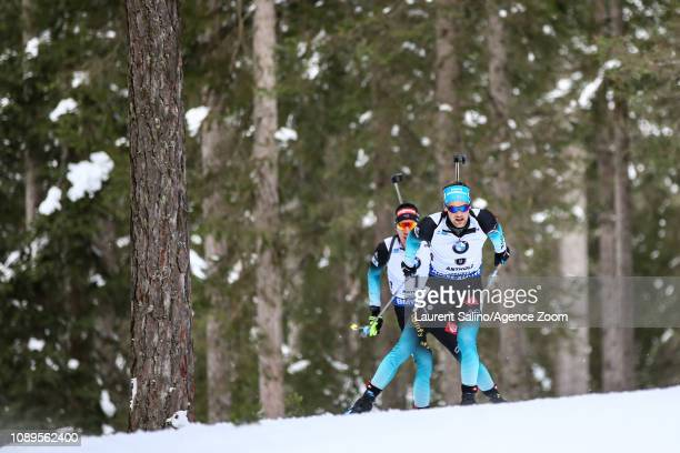 Simon Desthieux of France competes during the IBU Biathlon World Cup Men's and Women's Pursuit on January 26 2019 in Antholz Anterselva Italy