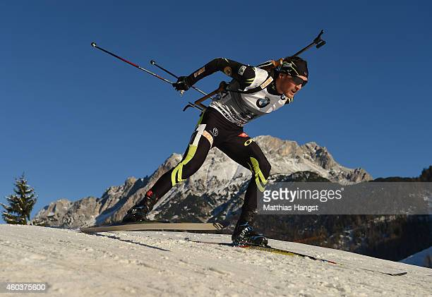 Simon Desthieux of France competes in the men's 10 km sprint event during the IBU Biathlon World Cup on December 12 2014 in Hochfilzen Austria