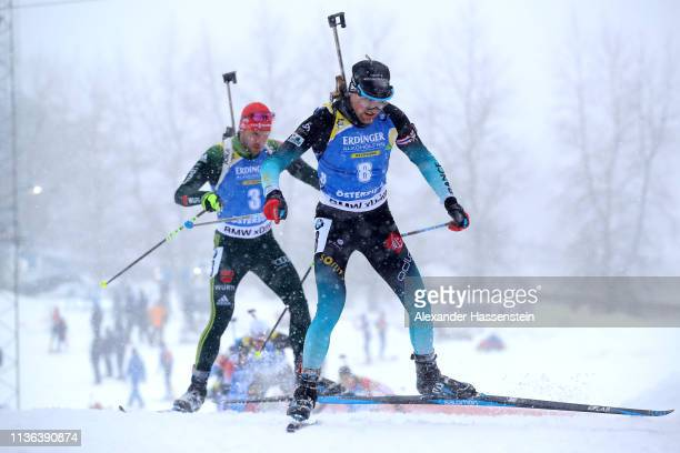 Simon Desthieux of France competes in the Men's Mass Start at the IBU Biathlon World Championships on March 17 2019 in Ostersund Sweden