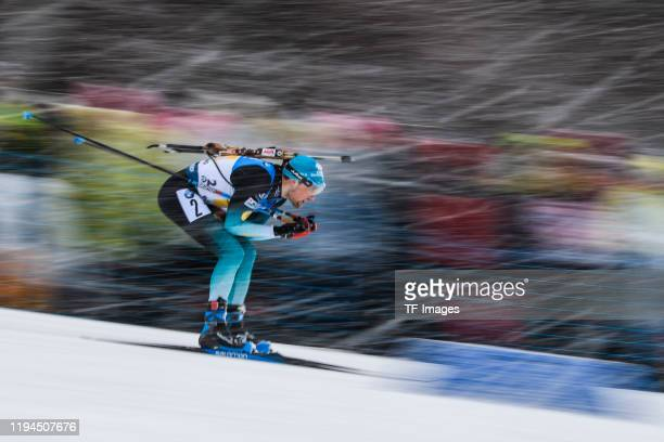 Simon Desthieux of France in action competes during the Men 4x7.5 km Relay Competition at the BMW IBU World Cup Biathlon Ruhpolding on January 18,...