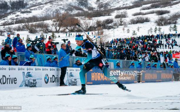 Simon Desthieux of France leaves the shooting area during the men's 125 KM pursuit of the IBU World Cup Biathlon February 16 2019 at Soldier Hollow...