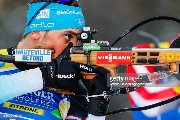 Simon Desthieux of France takes 3rd place during the IBU Biathlon World Cup Men's Relay on January 18, 2019 in Ruhpolding, Germany.