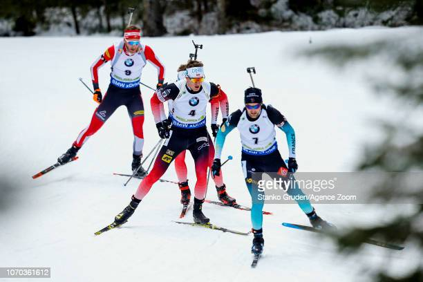 Simon Desthieux of France Tarjei Boe of Norway in action during the IBU Biathlon World Cup Men's and Women's Pursuit on December 9 2018 in Pokljuka...