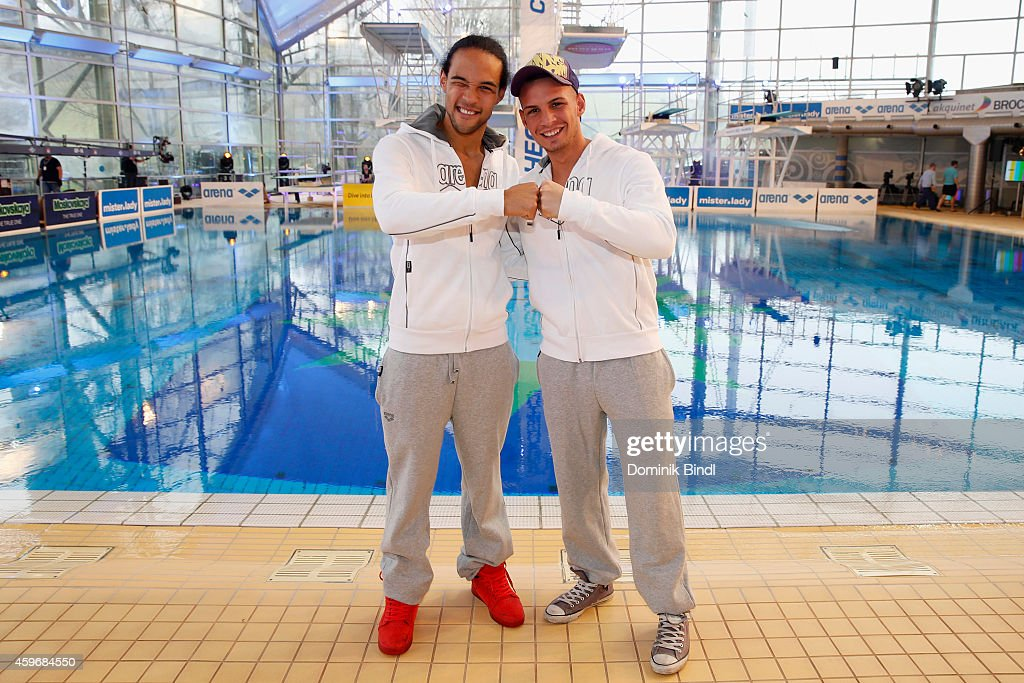 Simon Desue and Pietro Lombardi attend the TV Total Turmpringen photocall on November 28, 2014 in Munich, Germany.