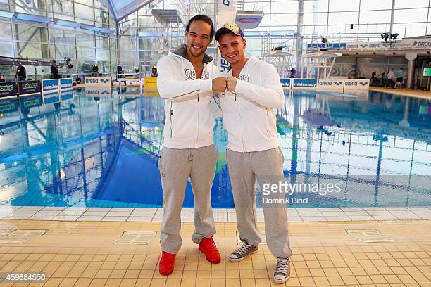 Simon Desue and Pietro Lombardi attend the TV Total Turmpringen photocall on November 28 2014 in Munich Germany