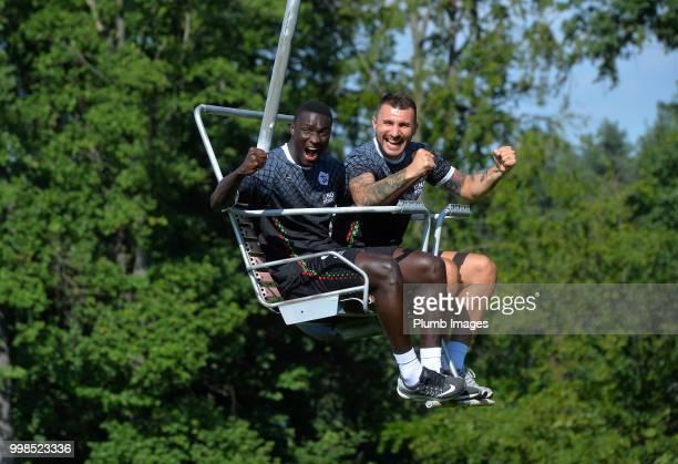 Simon Diedhiou with Jovan Kostovski during team bonding activities during the OHL Leuven training session on July 09 2018 in Maribor Slovenia