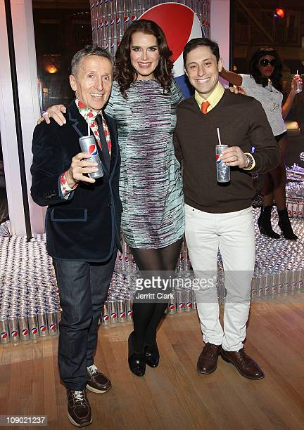 Simon Doonan Brooke Shields and Jonathan Adler attends the launch of the new Diet Pepsi can at the Diet Pepsi Style Studio on February 11 2011 in New...