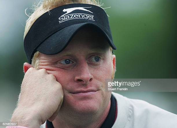 Simon Dyson of England looks on during the third round of The Estoril Open de Portugal at The Quinta da Marinha Golf Course on April 2 2005 in...