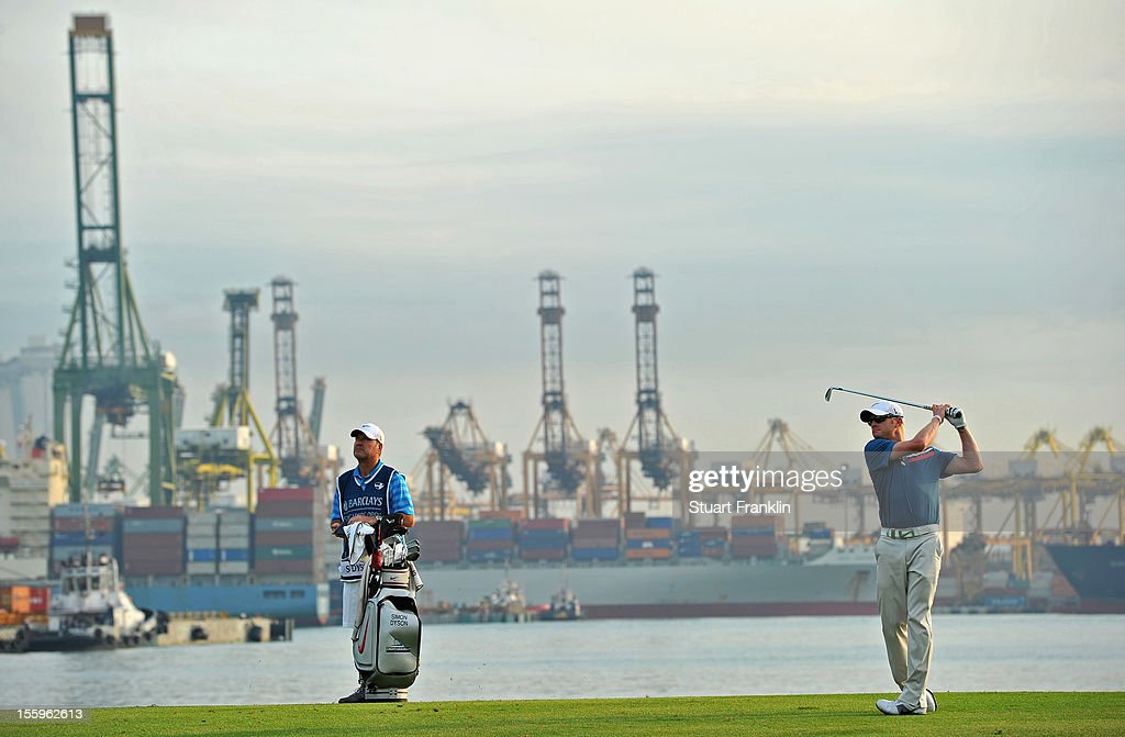 Simon Dyson of England plays a shot during the resumption of the rain delayed second round of the Barclays Singapore Open at the Sentosa Golf Club on November 10, 2012 in Singapore.