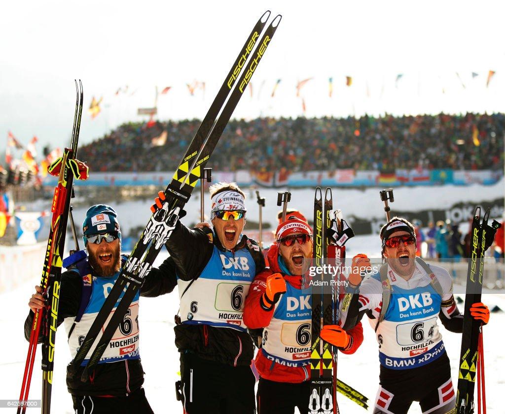 Simon Eder, Daniel Mesotitsch, Julian Eberhard and Dominik Landertinger celebrate winning the Bronze medal after the Men's 4x 7.5km relay competition of the IBU World Championships Biathlon 2017 at the Biathlon Stadium Hochfilzen on February 18, 2017 in Hochfilzen, Austria.