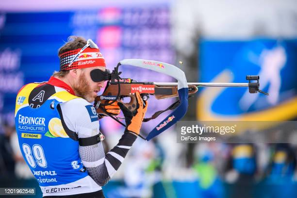 Simon Eder of Austria at the shooting range during the Men 20 km Individual Competition at the IBU World Championships Biathlon Antholz-Anterselva on...