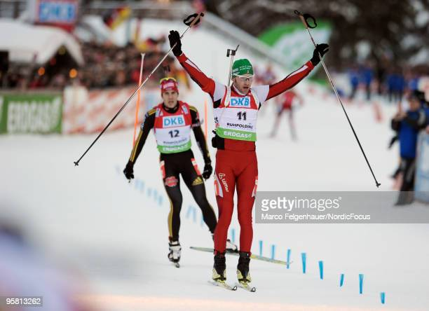 Simon Eder of Austria celebrates during the men's mass start in the e.on Ruhrgas IBU Biathlon World Cup on January 16, 2010 in Ruhpolding, Germany.