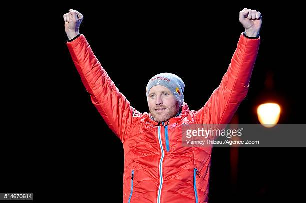 Simon Eder of Austria celebrates winning the bronze medal after the IBU Biathlon World Championships Men's 20km Individual on March 10 2016 in Oslo...