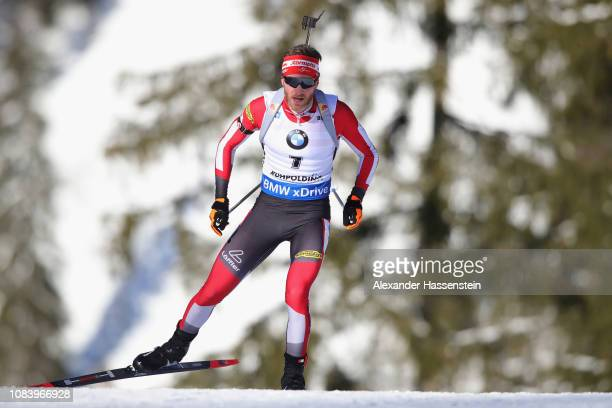 Simon Eder of Austria competes at the 10 km Men's Sprint during the IBU Biathlon World Cup at Chiemgau Arena on January 17 2019 in Ruhpolding Germany