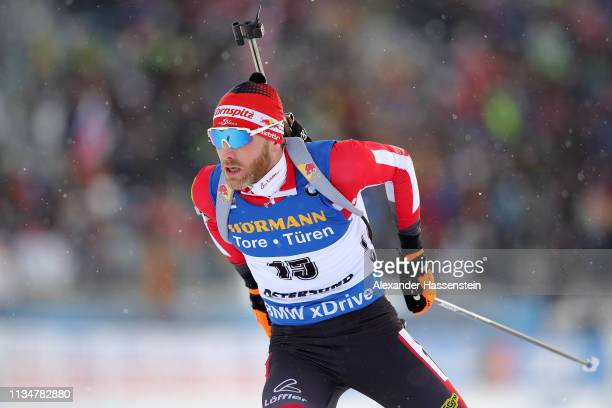 Simon Eder of Austria competes at the IBU Biathlon World Championships Men 10km Sprint at Swedish National Biathlon Arena on March 09, 2019 in...
