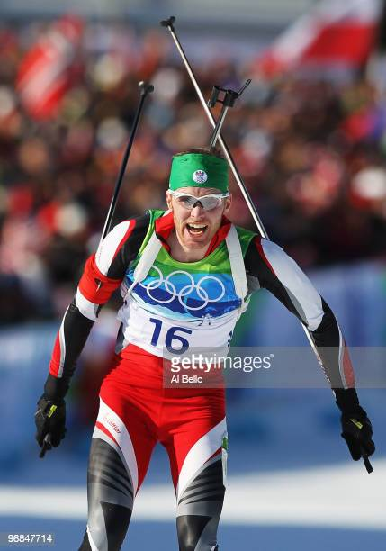 Simon Eder of Austria competes during the Biathlon Men's 20 km individual on day 7 of the 2010 Vancouver Winter Olympics at Whistler Olympic Park...
