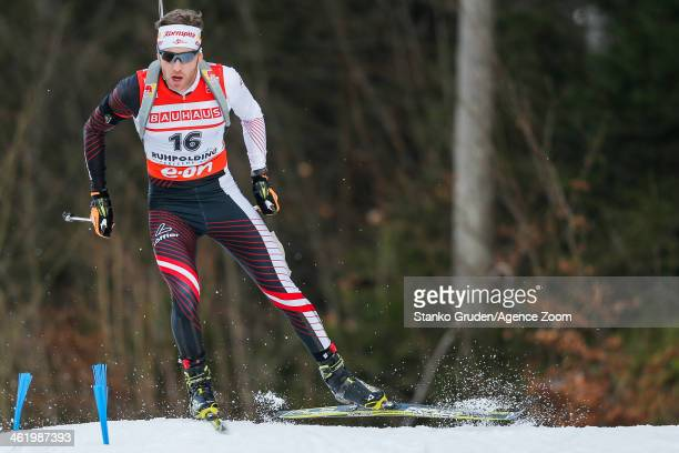 Simon Eder of Austria competes during the IBU Biathlon World Cup Men's and Women's Pursuit on January 12, 2014 in Ruhpolding, Germany.