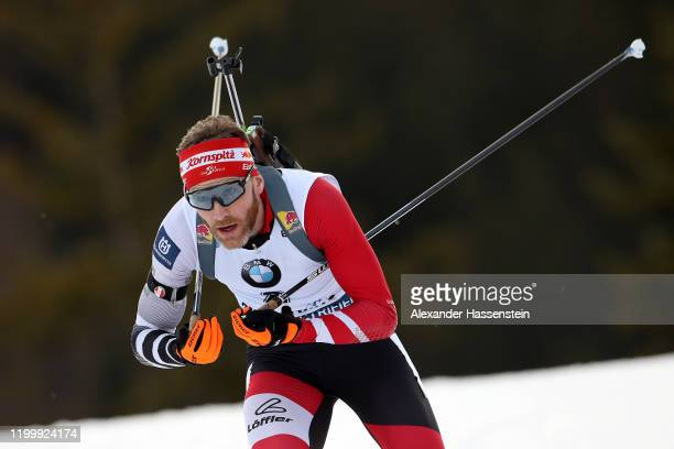 Simon Eder of Austria competes during the Men 10 km Sprint Competition at the BMW IBU World Cup Biathlon Ruhpolding on January 16, 2020 in...