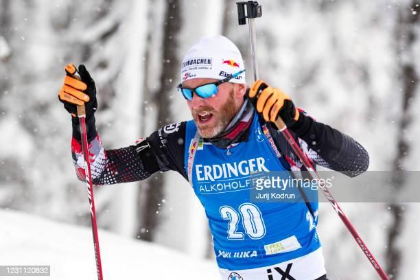 Simon Eder of Austria competes during the Men 10 km Sprint Competition at the IBU World Championships Biathlon Pokljuka on February 12, 2021 in...