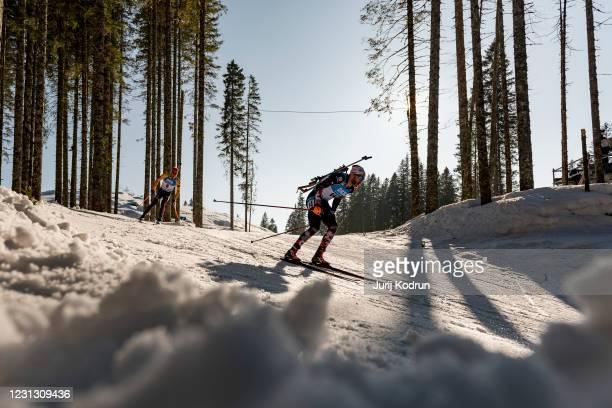 Simon Eder of Austria competes during the Men 15 km Mass Start Competition at the IBU World Championships Biathlon Pokljuka at Rudno polje, Pokljuka,...