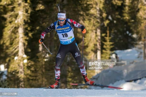 Simon Eder of Austria competes during the Men 20 km Individual Competition at the IBU World Championships Biathlon Pokljuka at on February 17, 2021...