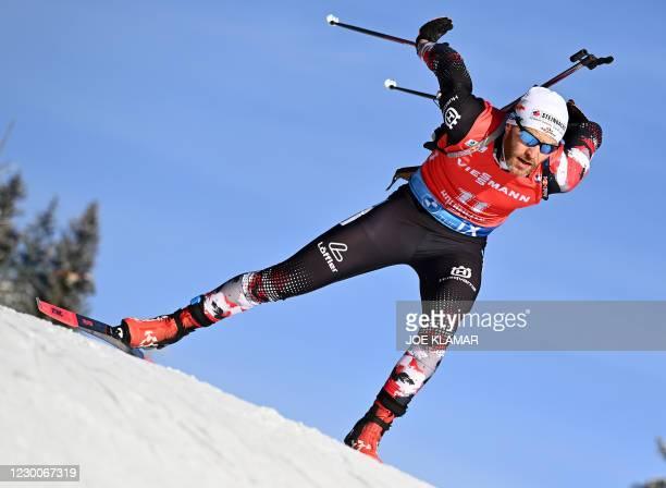 Simon Eder of Austria competes during the mens 10km sprint event of the IBU Biathlon World Cup in Hochfilzen, Austria, on December 11, 2020.