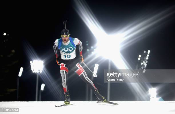 Simon Eder of Austria competes during the Men's 20km Individual Biathlon at Alpensia Biathlon Centre on February 15 2018 in Pyeongchanggun South Korea