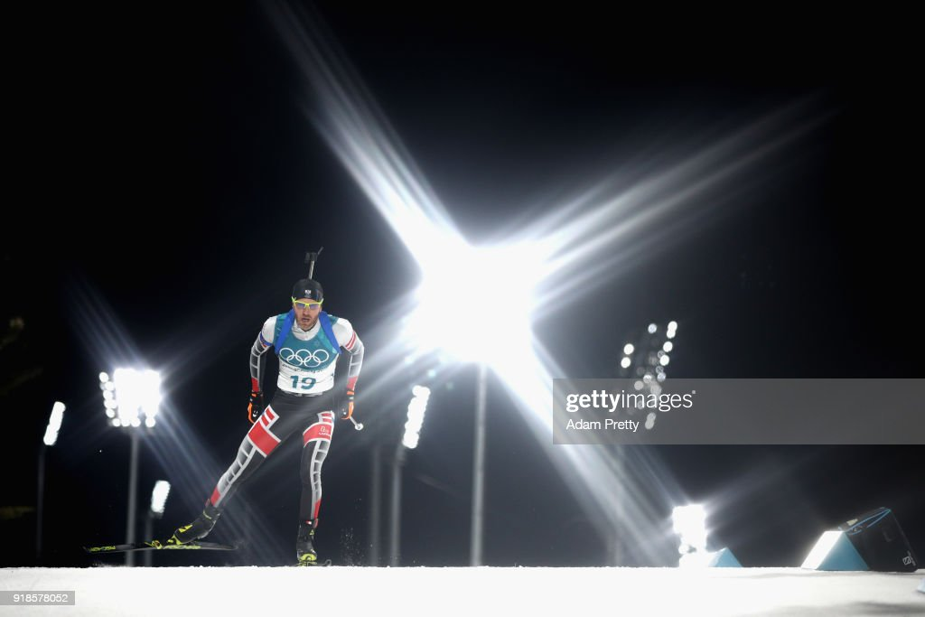 Simon Eder of Austria competes during the Men's 20km Individual Biathlon at Alpensia Biathlon Centre on February 15, 2018 in Pyeongchang-gun, South Korea.